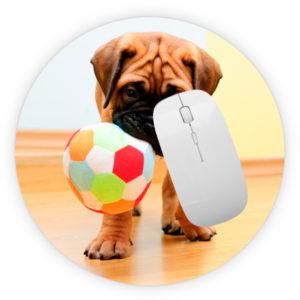alfombrilla redonda raton personalizable con foto y texto online