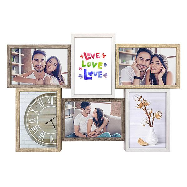 Marco múltiple con 6 fotos que puedes personalizar online. Marco decorativo para colgar.