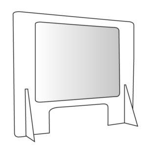 mampara rígida con soporte transparente personalizable anticontagio covid